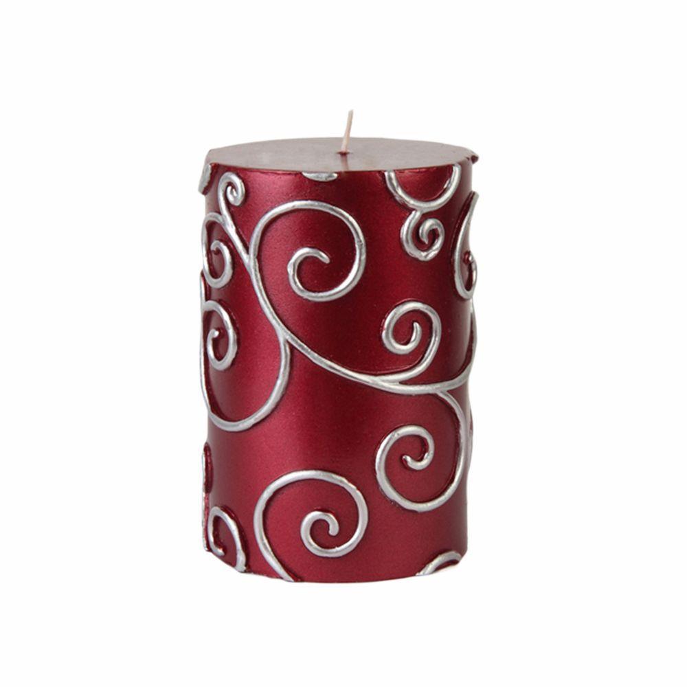 3 in. x 4 in. Red Scroll Pillar Candle Bulk (12-Case)