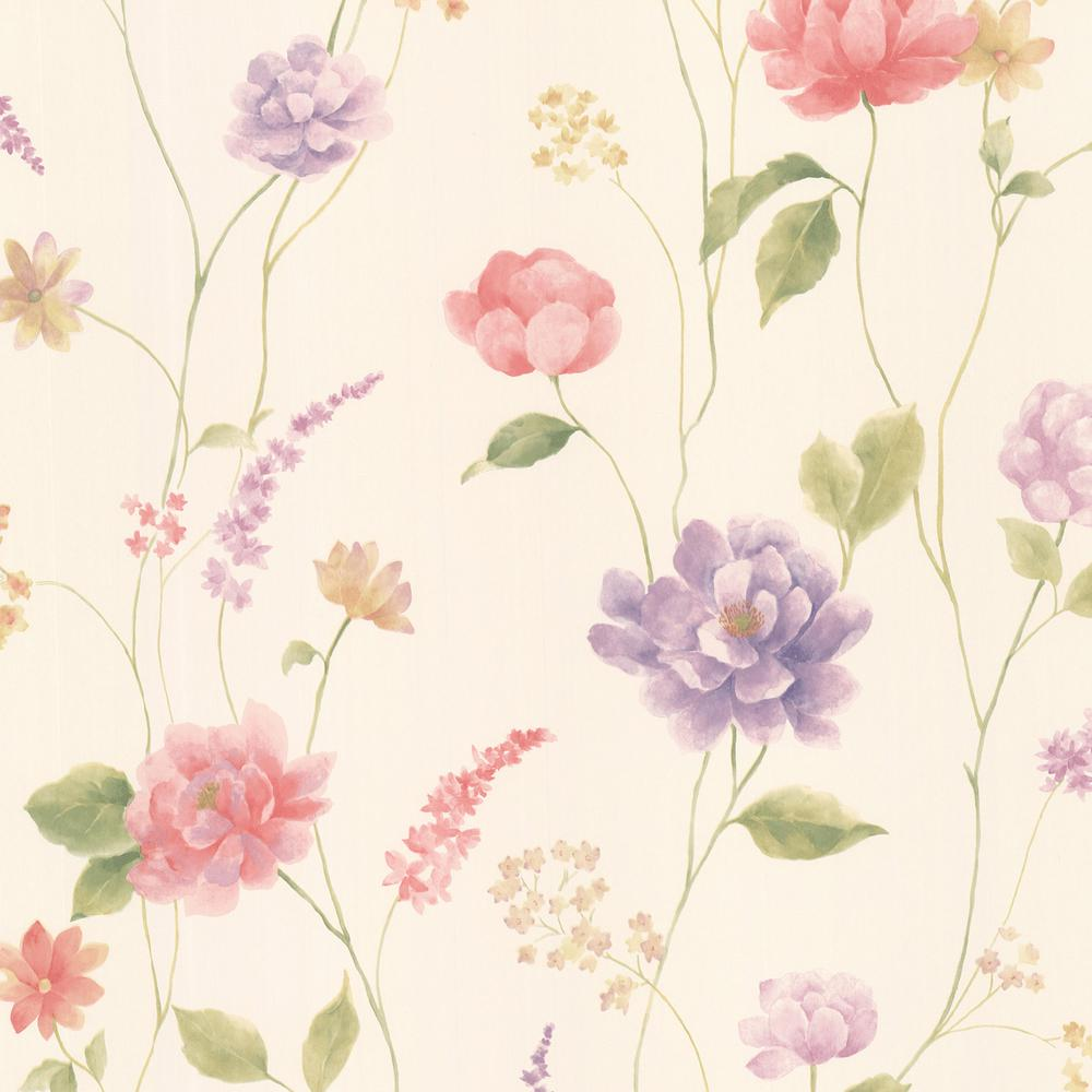 Brewster 56 4 Sq Ft Hanne Pink Floral Pattern Wallpaper 347