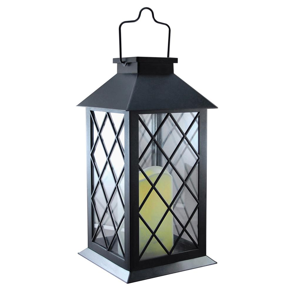 Lumabase Solar 5 In X 11 Tudor Black Lantern 94001 The Home Depot