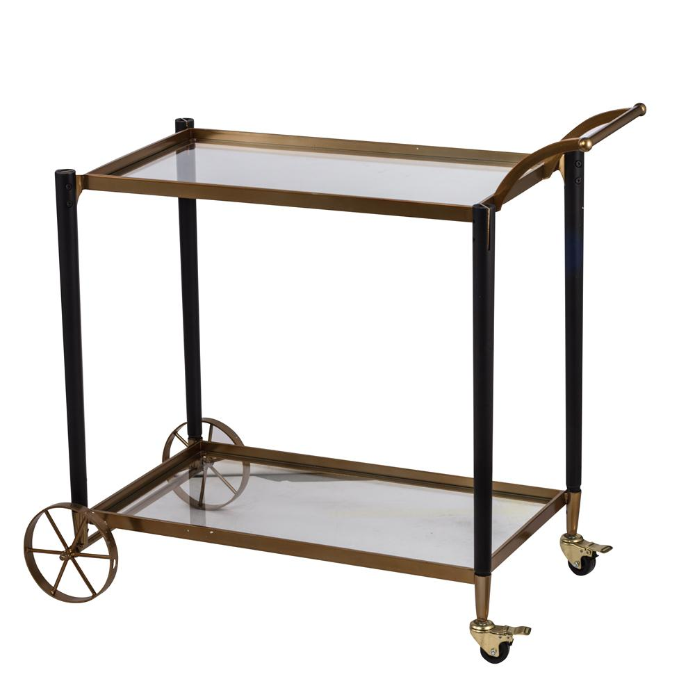 Elegant Metallic Gold 2-Tier Serving Cart with Safety-tempered Glass