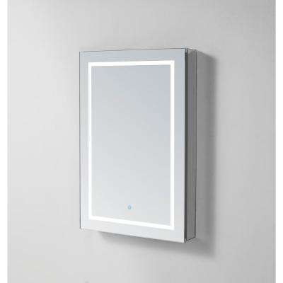 Royale Plus 24 in W x 36 in. H Recessed or Surface Mount Medicine Cabinet with Single Door, LED Lighting, Left Hinge