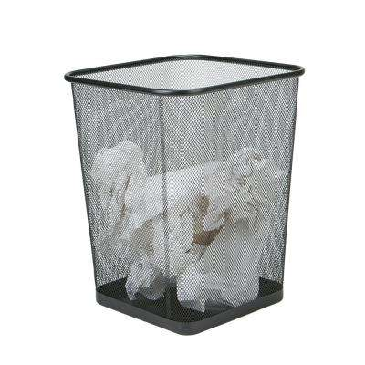 2-Piece Black Metal Mesh Garbage Waste Basket Recycling Bin Set