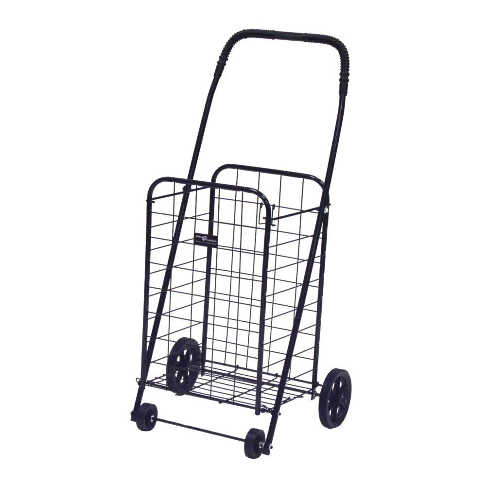 Easy Wheels Mini-A Shopping Cart in Black The Easy Wheels Mini-A Shopping Cart has been the industry's premier cart with industrial strength for home use. When lying down, with the cart folded, the highest measurement is the wheels with a 5.75 in. Dia giving an incredible amount of convenience in a compact size. This particular model comes with hardened plastic and rubber-like tread. Color: Black.