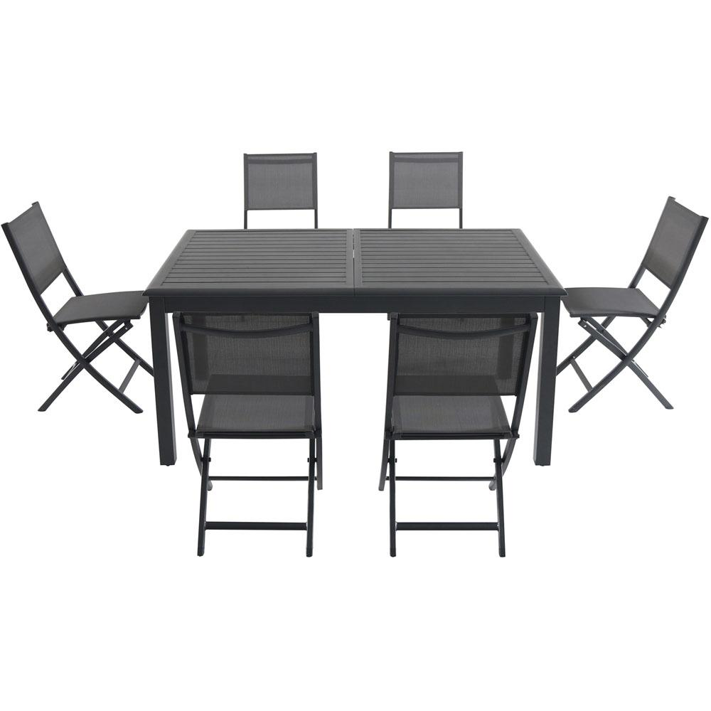 Hanover Cameron 11-Piece Aluminum Outdoor Dining Set with 6 Folding Sling  Chairs and an Expandable Table