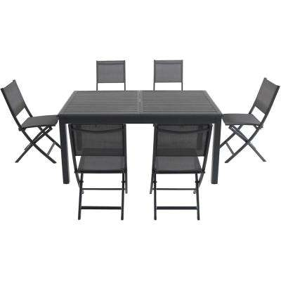 Cameron 11 Piece Aluminum Outdoor Dining Set With 6 Folding Sling Chairs  And An Expandable