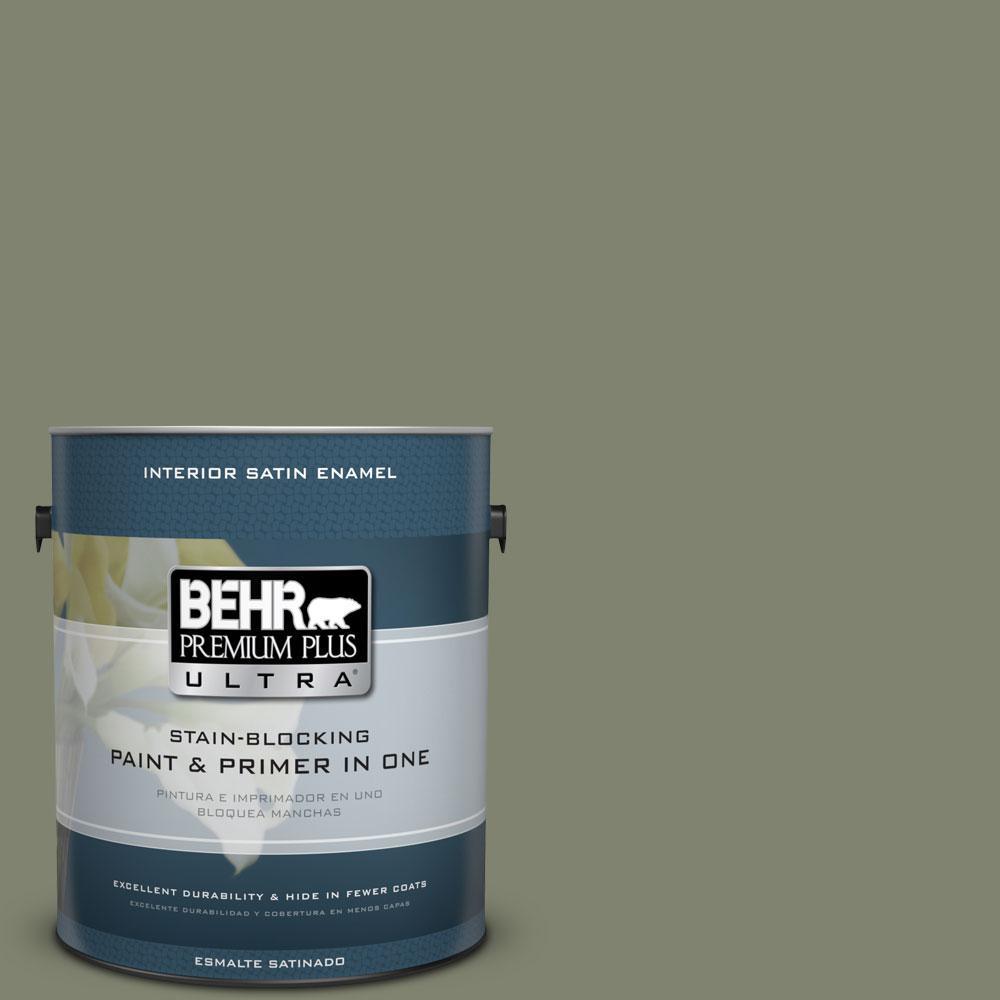 BEHR Premium Plus Ultra 1-Gal. #PPU10-18 Lizard Green Satin Enamel Interior Paint