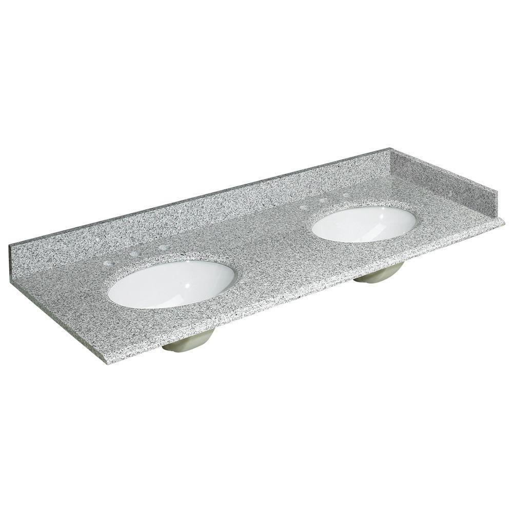 w granite double basin vanity top in rushmore grey with backsplash and