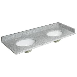 Foremost 61 inch W Granite Double Basin Vanity Top in Rushmore Grey with Backsplash and Optional Sidesplash by Foremost