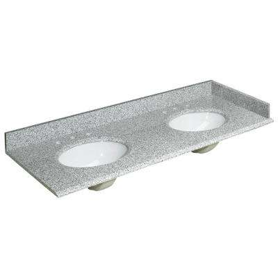 61 in. W Granite Double Basin Vanity Top in Rushmore Grey with Backsplash and Optional Sidesplash