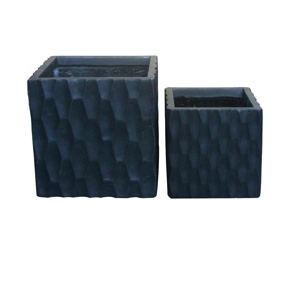 Lightweight Concrete Retro Square Charcoal Planter (Set of 2)