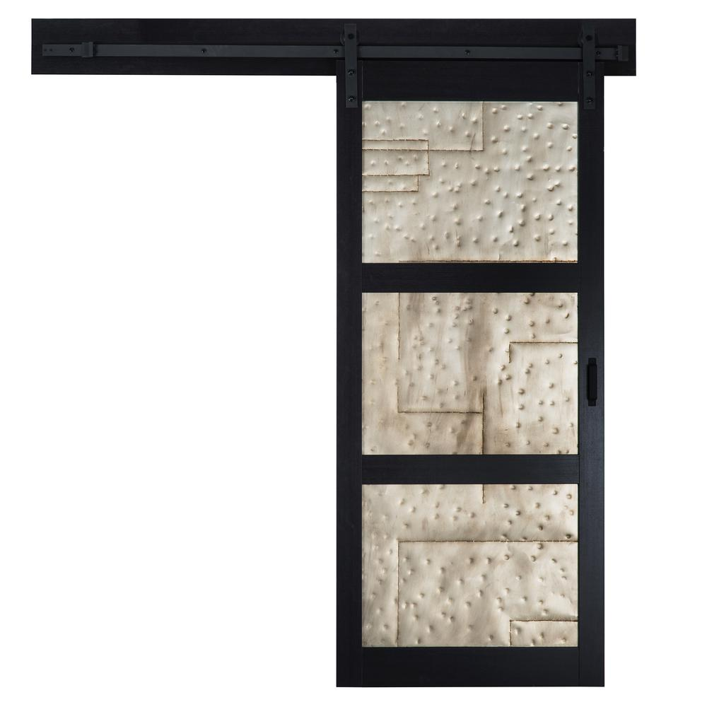 Truporte 36 in x 84 in metal works black rustic t in for Rustic hardware barn doors
