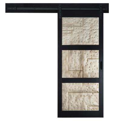 36 in. x 84 in. Metal Works Black Rustic T in. Inserts Solid Core Interior Barn Door with Sliding Rustic Hardware Kit