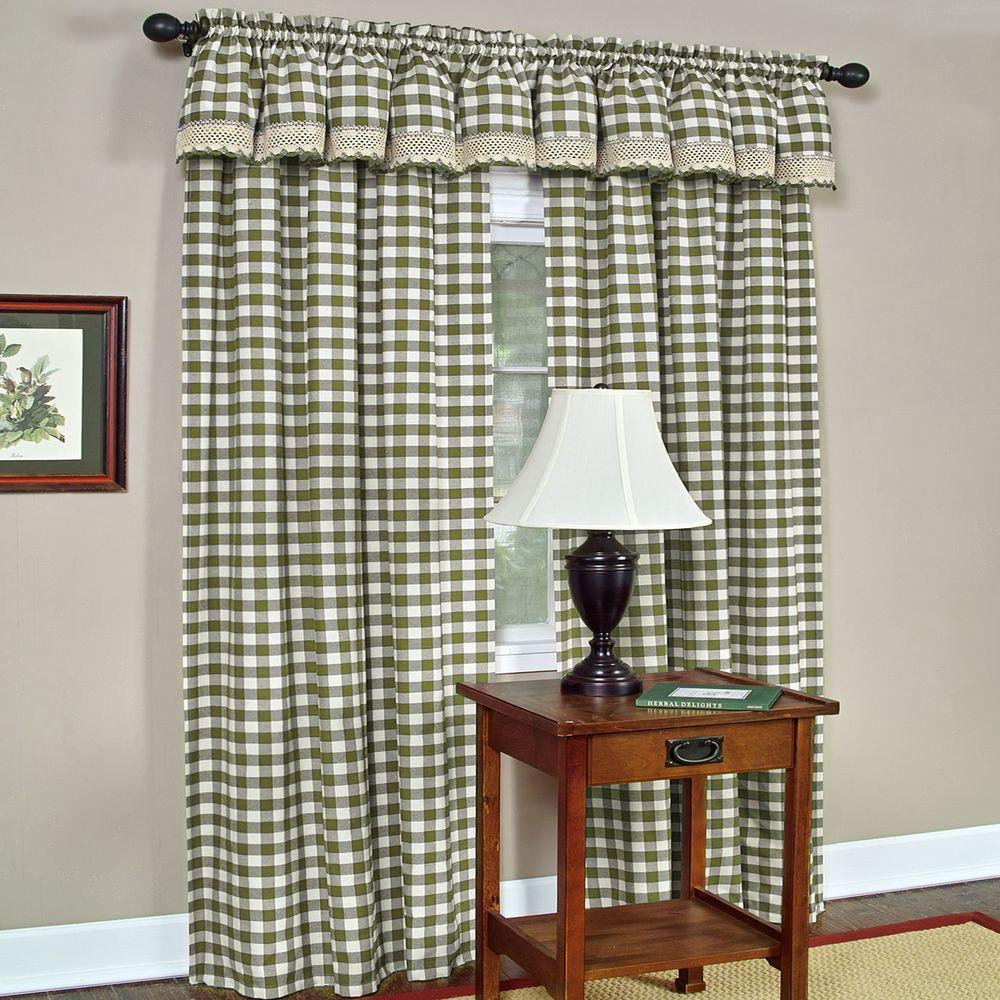 Semi-Opaque Buffalo Check Sage Poly/Cotton Window Curtain Panel 42 in. W