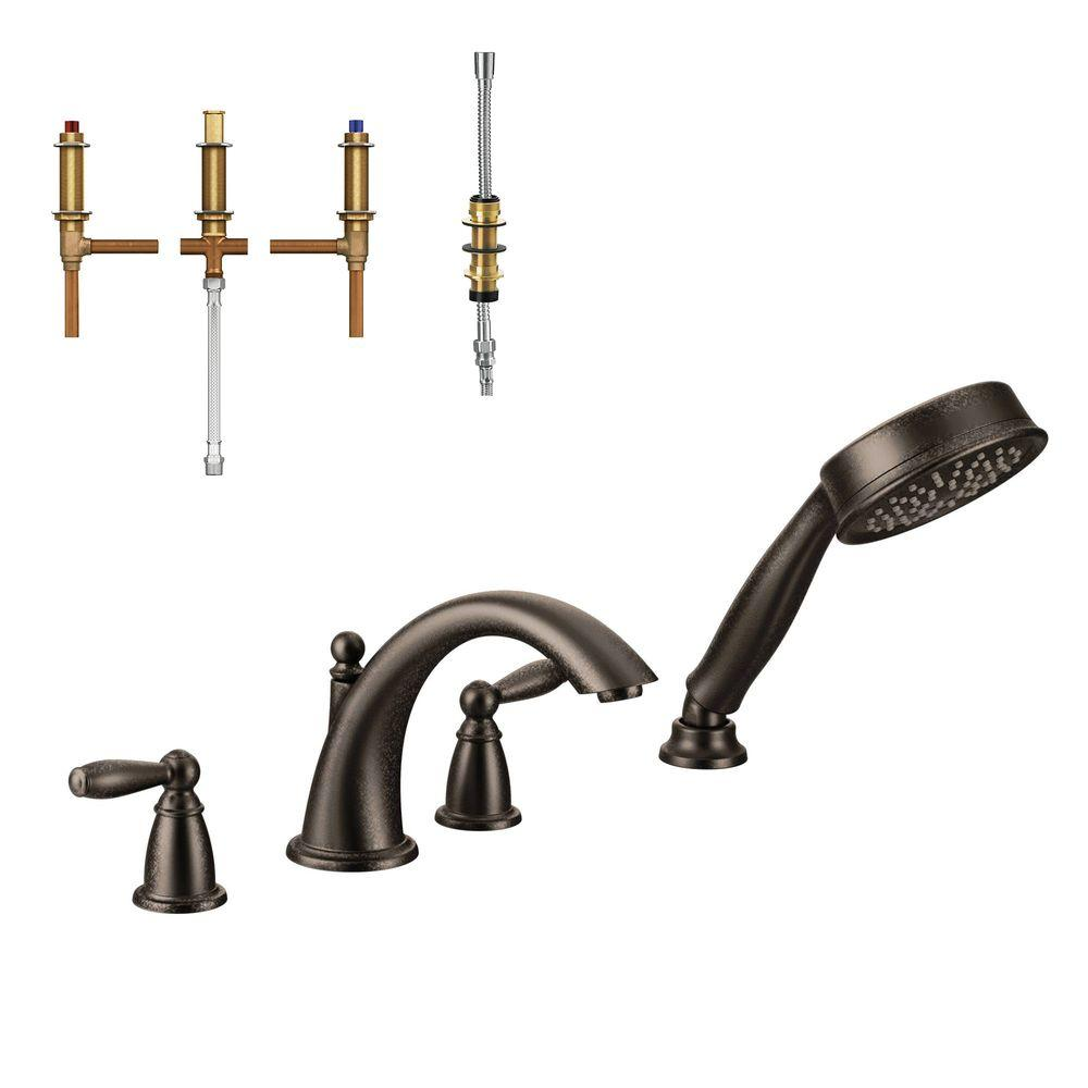 Moen Brantford 2 Handle Deck Mount Roman Tub Faucet Trim Kit With Handshower And
