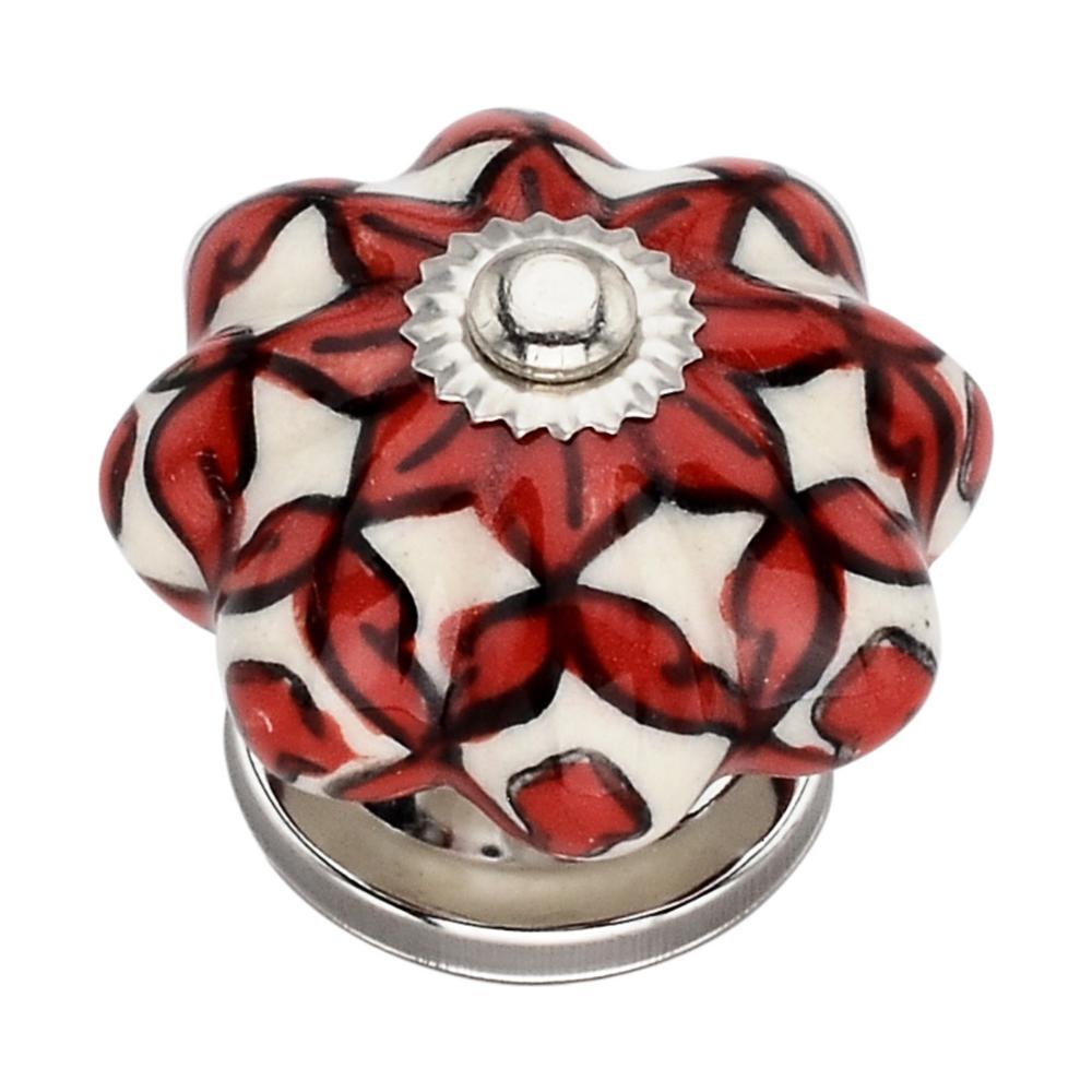 Blossom Fusion 1.61 in. Orange and Cream Cabinet Knob