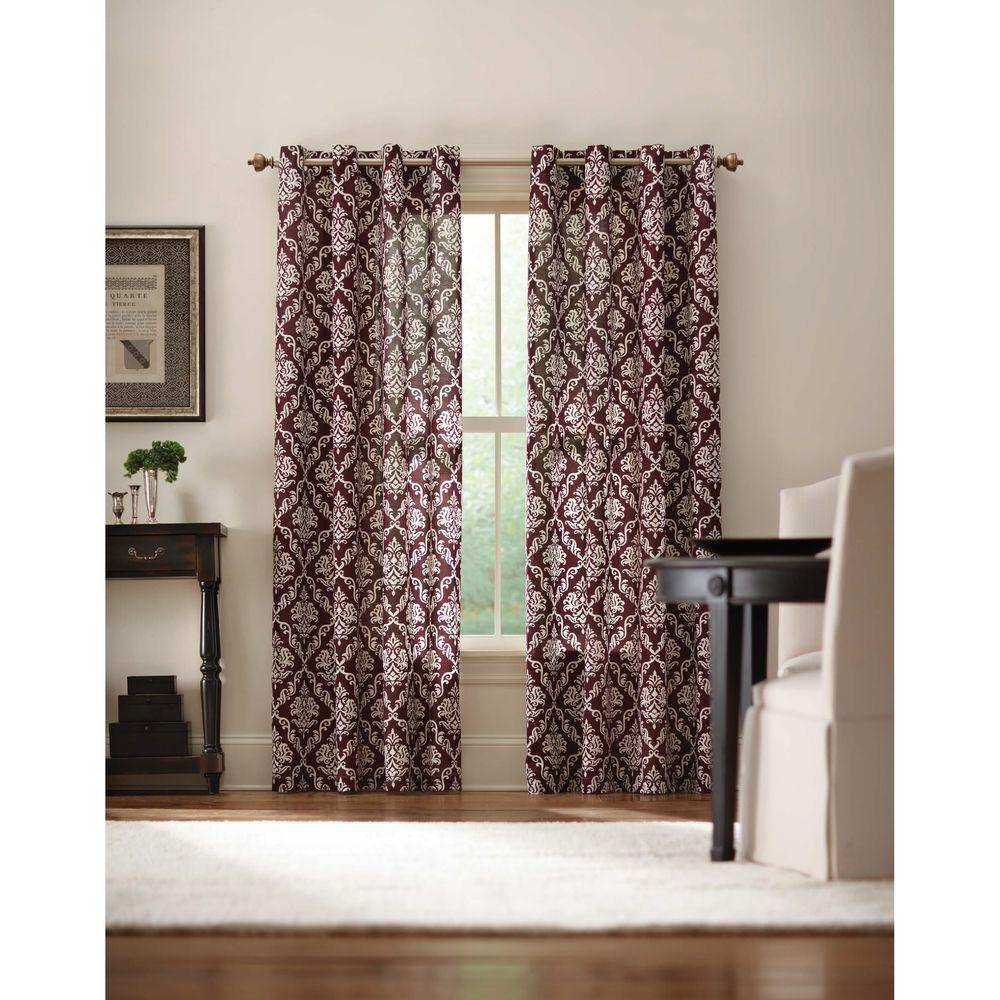 Home decorators collection semi opaque plum grommet curtain 52 in w x 84 in l arabesque 520 Home decorators collection valance