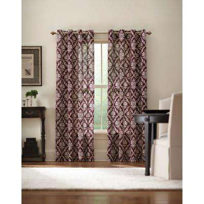 Semi-Opaque Plum Grommet Curtain - 52 in. W x 84 in. L