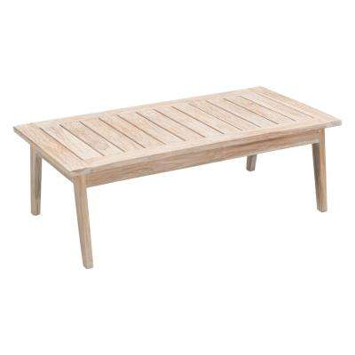 West Port Wood Outdoor Patio Coffee Table in White Wash