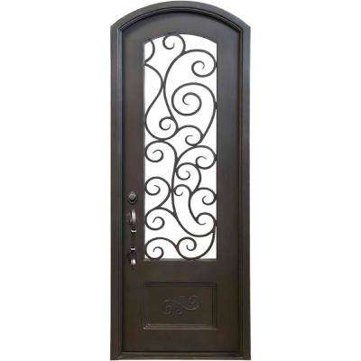 40 in. x 96 in. Lauderdale Dark Bronze Right-Hand Inswing Painted Iron Prehung Front Door w/ Privacy Glass & Hardware