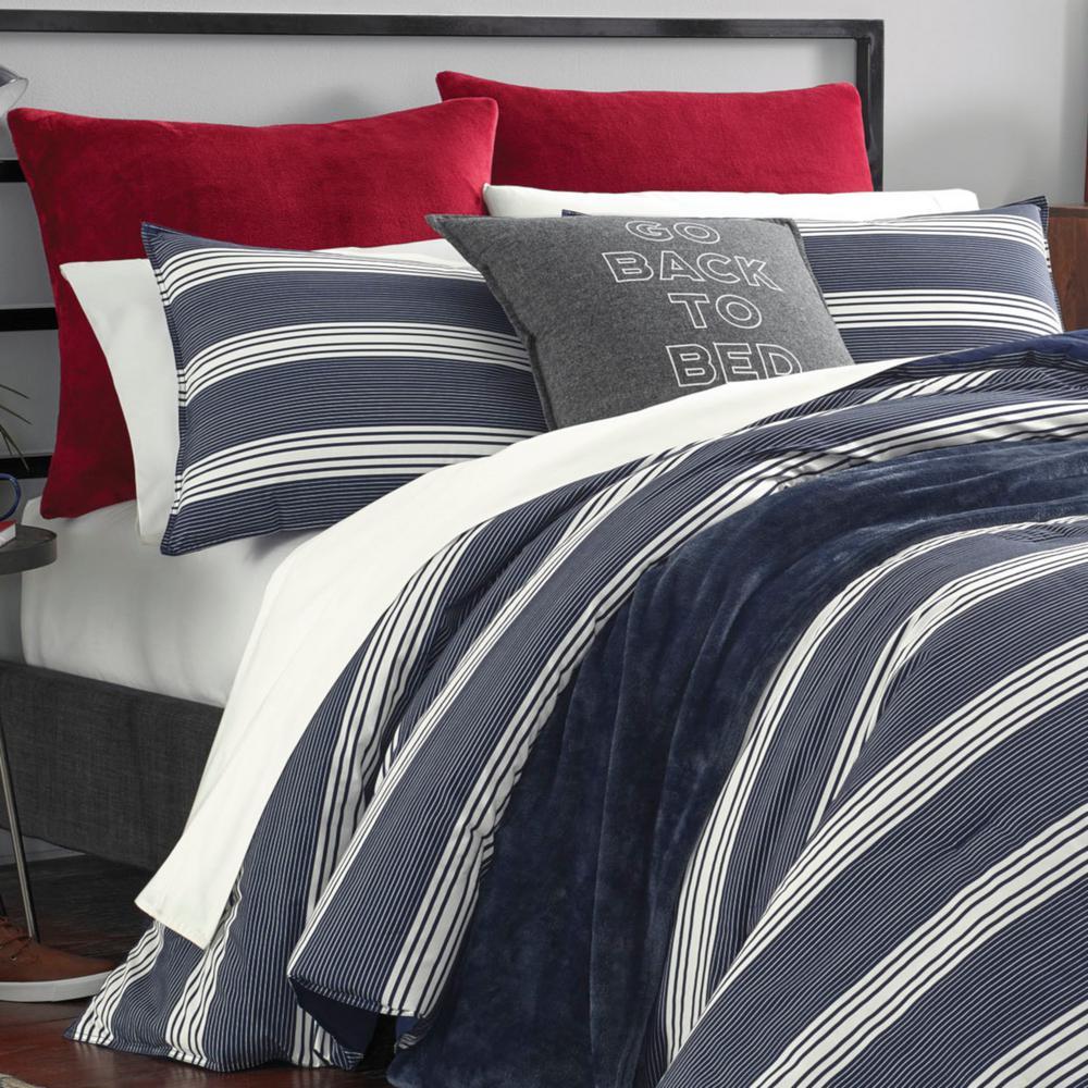 Craver Navy Striped Cotton Comforter Set
