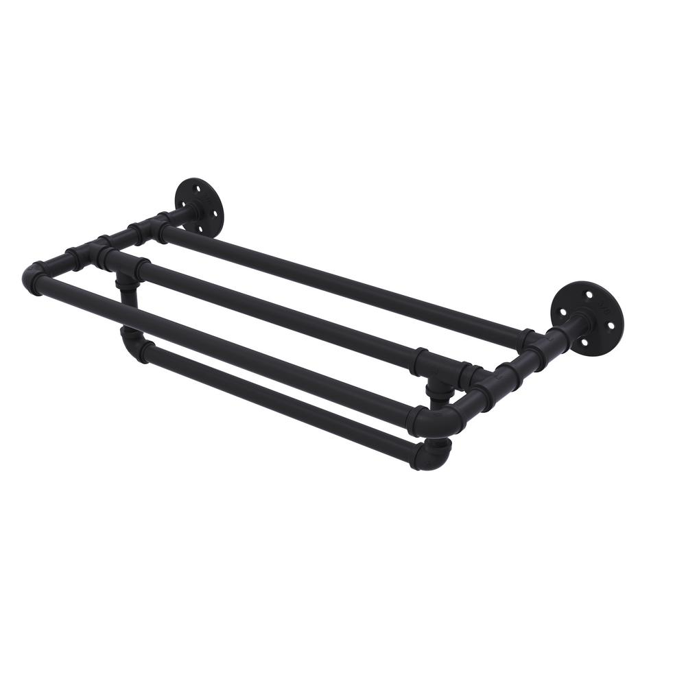 Pipeline Collection 18 in. Wall Mounted Towel Shelf with Towel Bar