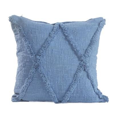Adore Denim Blue Solid Diamond Tufted Poly-fill 18 in. x 18 in. Throw Pillow