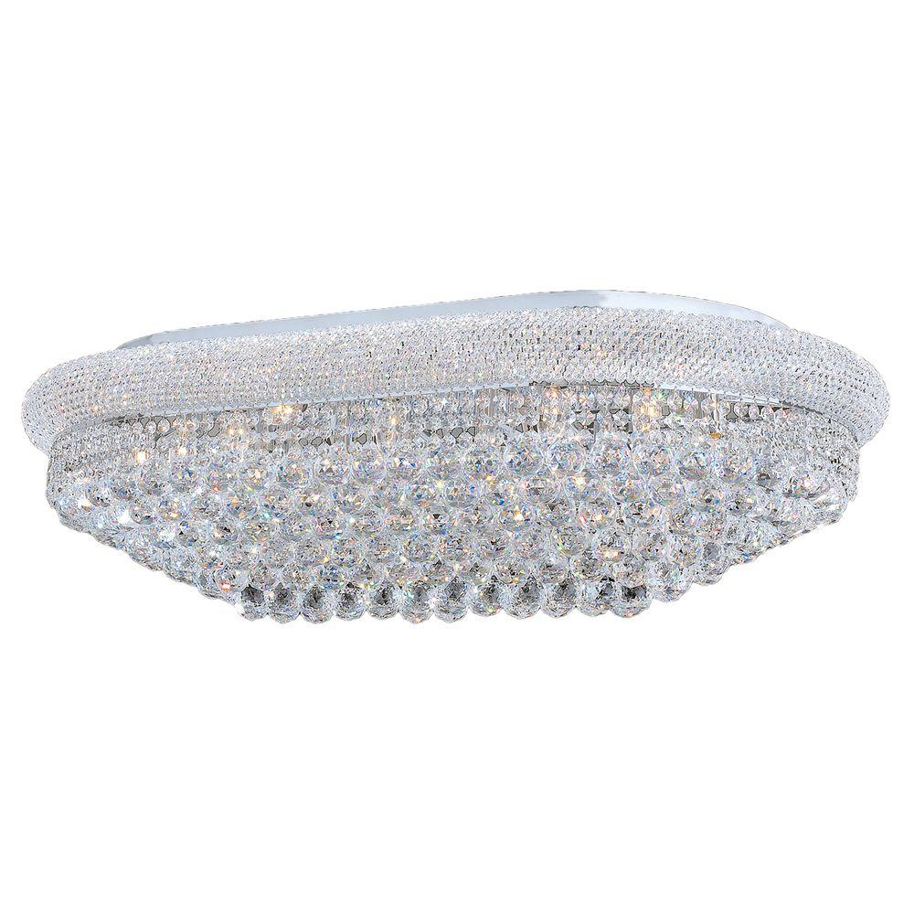 Worldwide Lighting Empire Collection 24-Light Crystal and Chrome Ceiling Light
