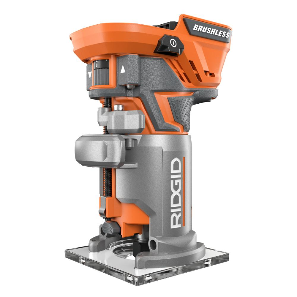 Ridgid 18 volt gen5x cordless brushless compact router with fixed ridgid 18 volt gen5x cordless brushless compact router with fixed base and tool free depth adjustment r86044b the home depot greentooth Choice Image