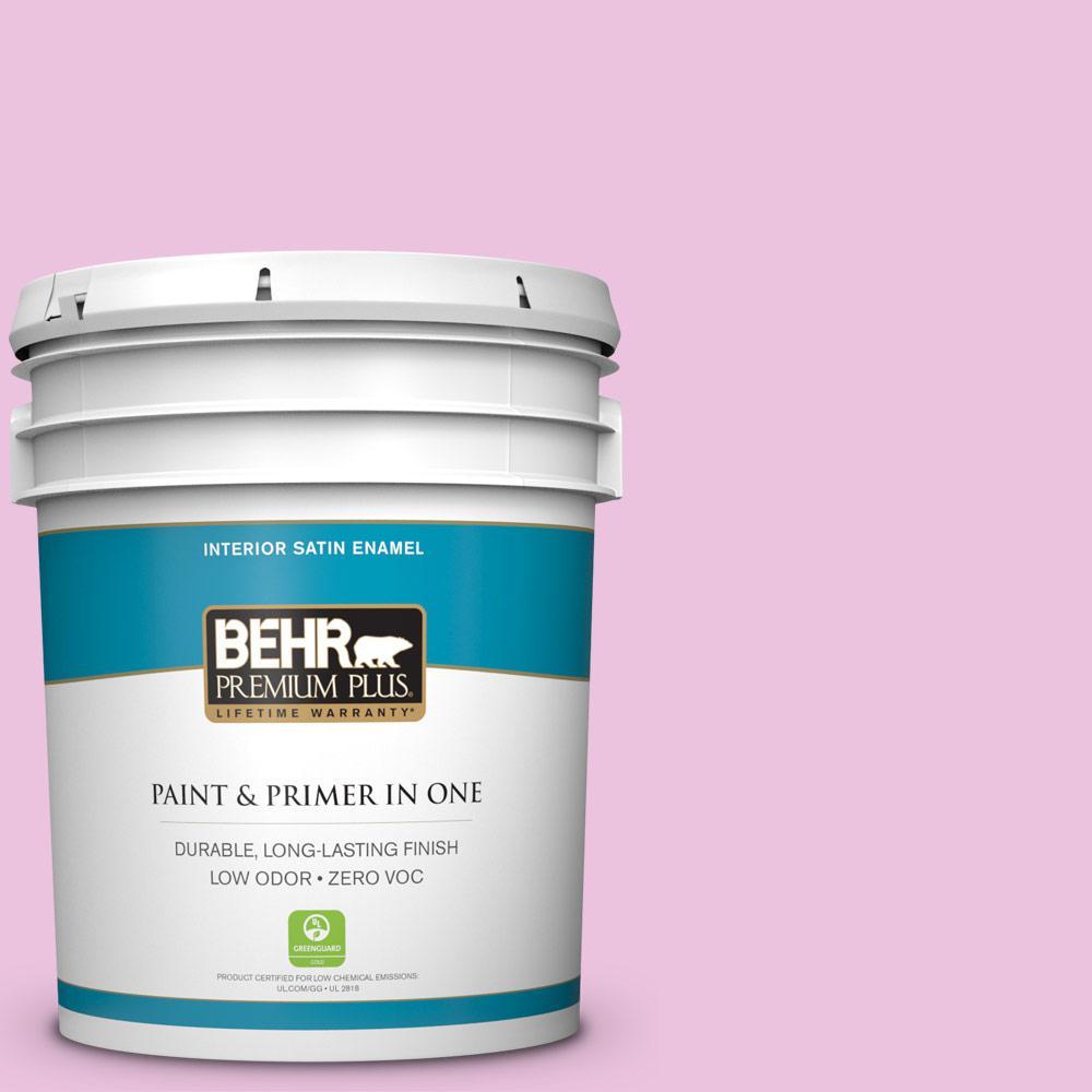 BEHR Premium Plus 5-gal. #680A-2 Sugar Sweet Zero VOC Satin Enamel Interior Paint