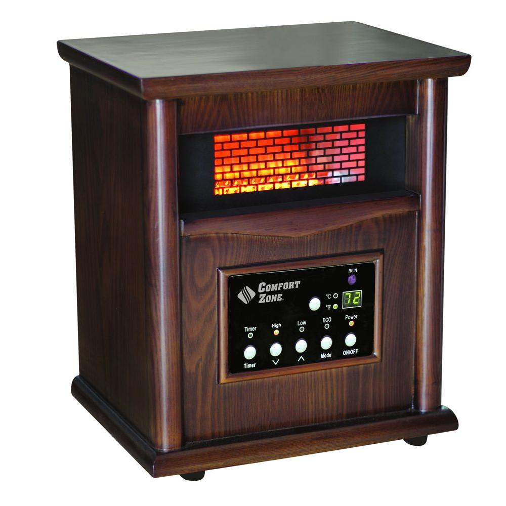 Comfort Zone 750/1500-Watt Infrared Wood Cabinet Quartz Electric Portable Heater with Remote - Walnut-DISCONTINUED