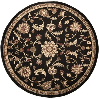 Sabin Black 8 ft. x 8 ft. Round Indoor Area Rug