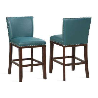Tiffany 24 in. Contemporary Peacock Counter Stools (Set of 2)