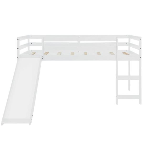 White Kids Twin Bunk Bed with Slide and Ladder