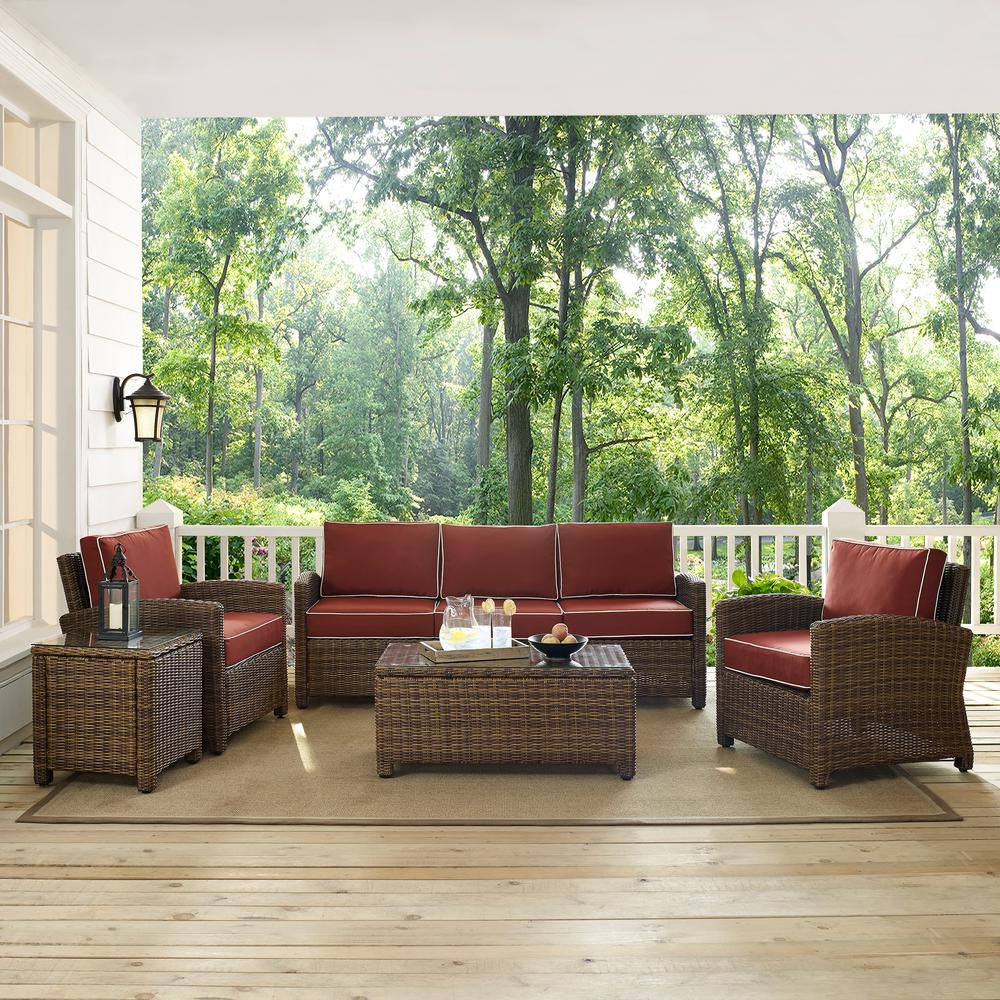Crosley Bradenton 5-Piece Wicker Outdoor Sofa Conversation Set with Sangria Cushions