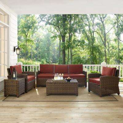 Bradenton 5-Piece Wicker Outdoor Sofa Conversation Set with Sangria Cushions