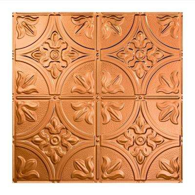 Traditional 2 - 2 ft. x 2 ft. Polished Copper Vinyl Lay-In Ceiling Tile