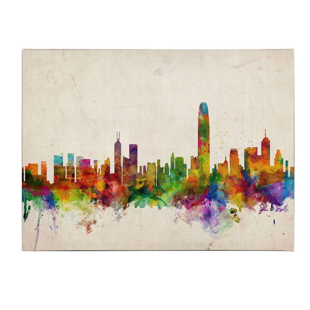 14 in. x 19 in. Hong Kong Skyline Canvas Art