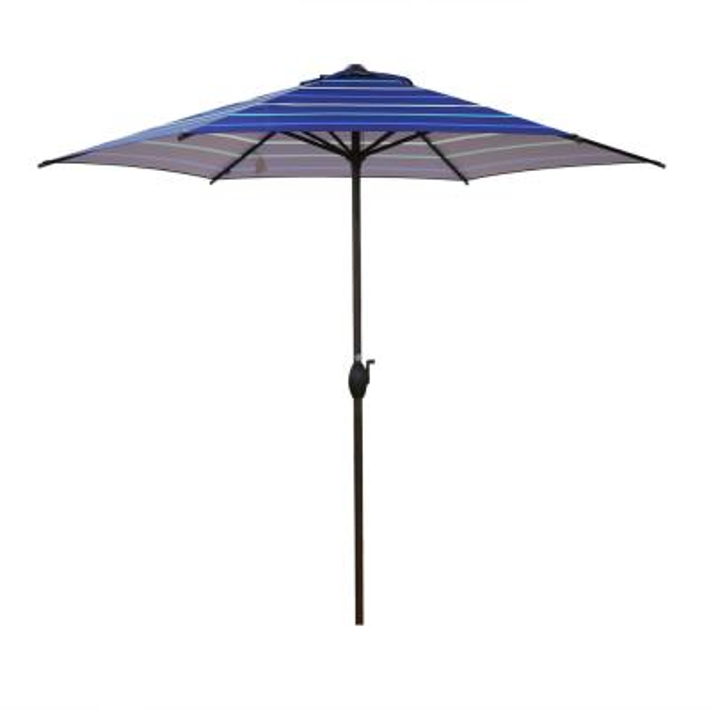 9 ft. Market Outdoor Patio Umbrella with Push Button Tilt and Crank, Dark Blue Stripe