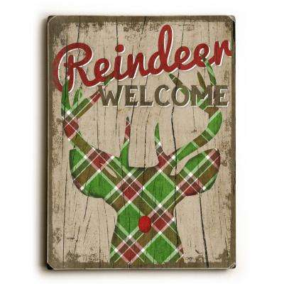 """9 in. x 12 in. """"Reindeer Welcome"""" by Misty Diller Solid Wood Wall Art"""
