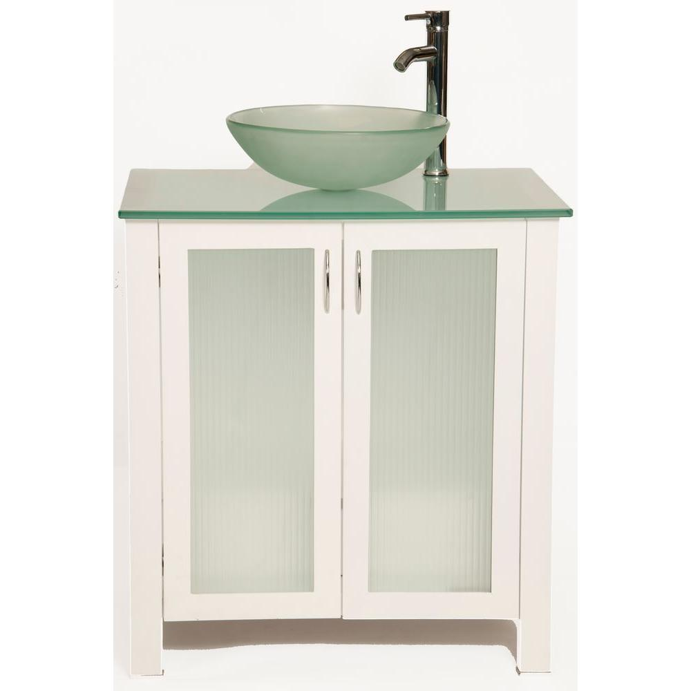 Bionic Allison 31 in. Vanity in White with Glass Vanity Top and Vessel Sink in Frosted-DISCONTINUED