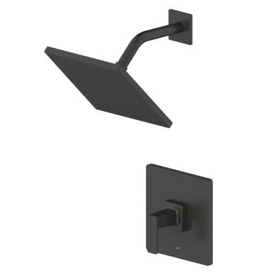 Hotel de Ville Single-Handle Square 1 Spray Setting Shower Faucet in Matte Black with Pressure Balance Valve