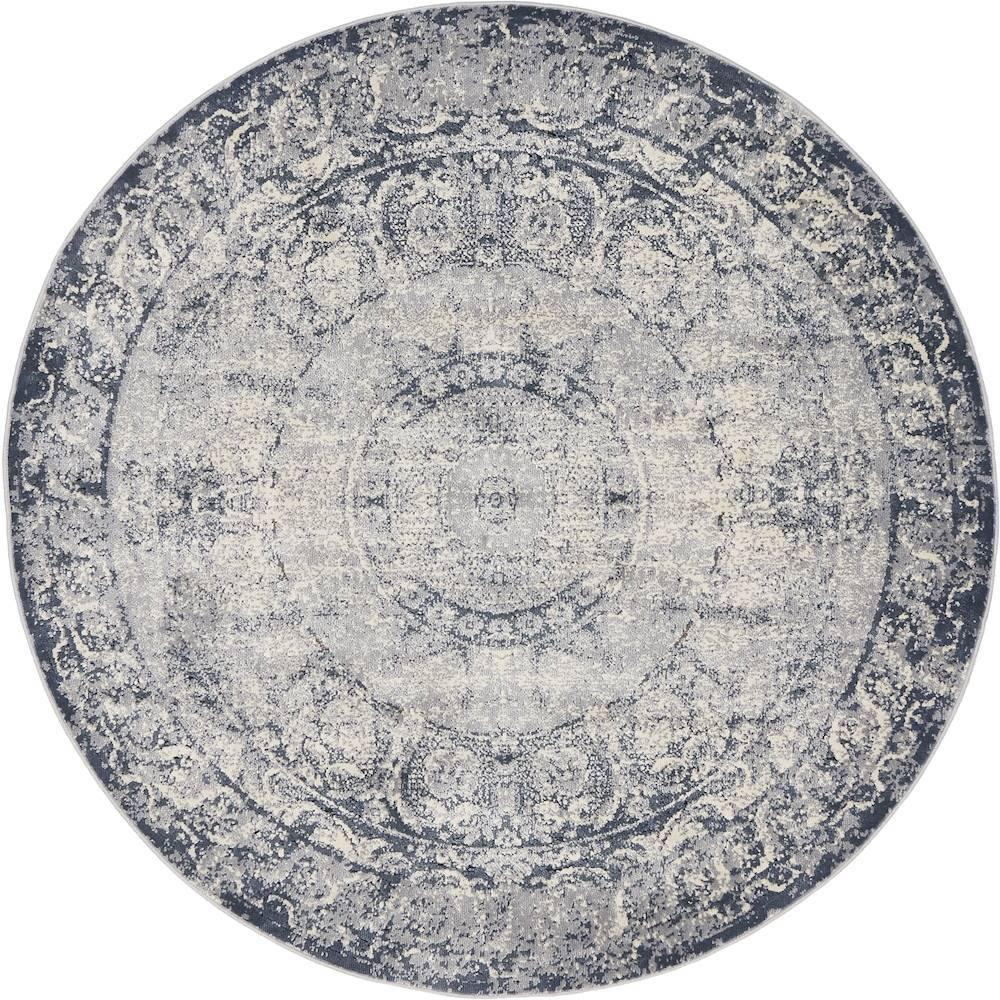 Chateau Grant Dark Blue 4' 0 x 4' 0 Round Rug