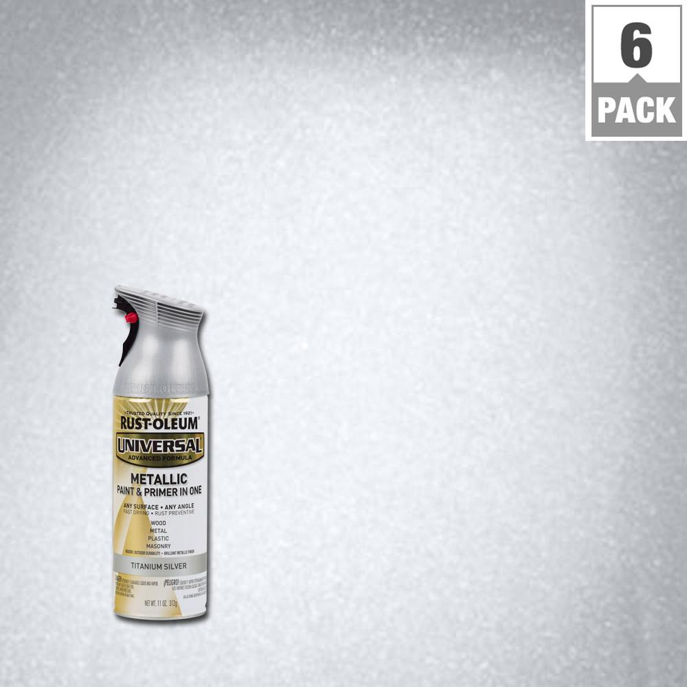 Rust-Oleum Universal 12 oz. All Surface Metallic Titanium Silver Spray Paint and Primer in One (6-Pack)
