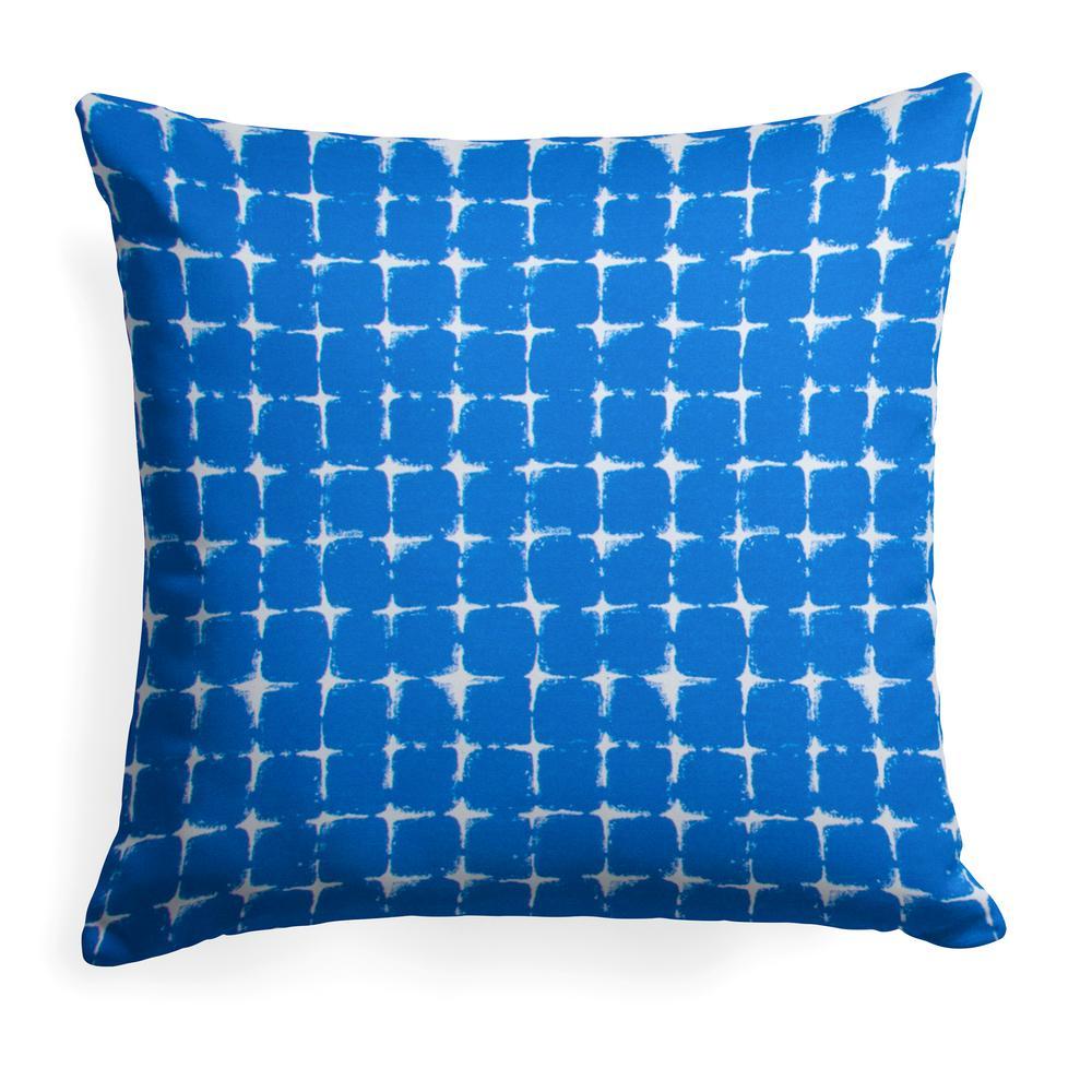 Sea Island Blue Square Outdoor Throw Pillow