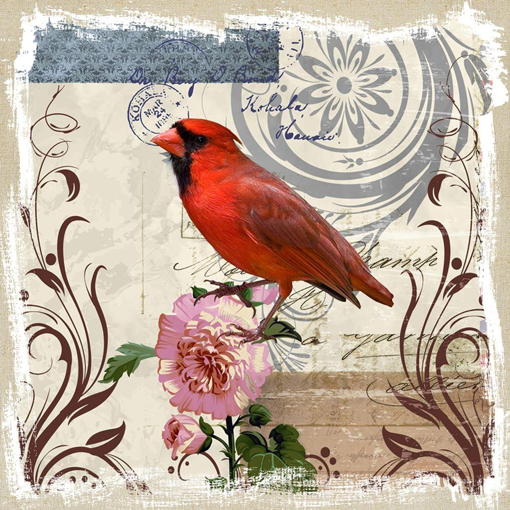 """Yosemite Home Decor 20 in. x 20 in. """"Red Cardinal on Linen"""" Printed Canvas Wall Art"""