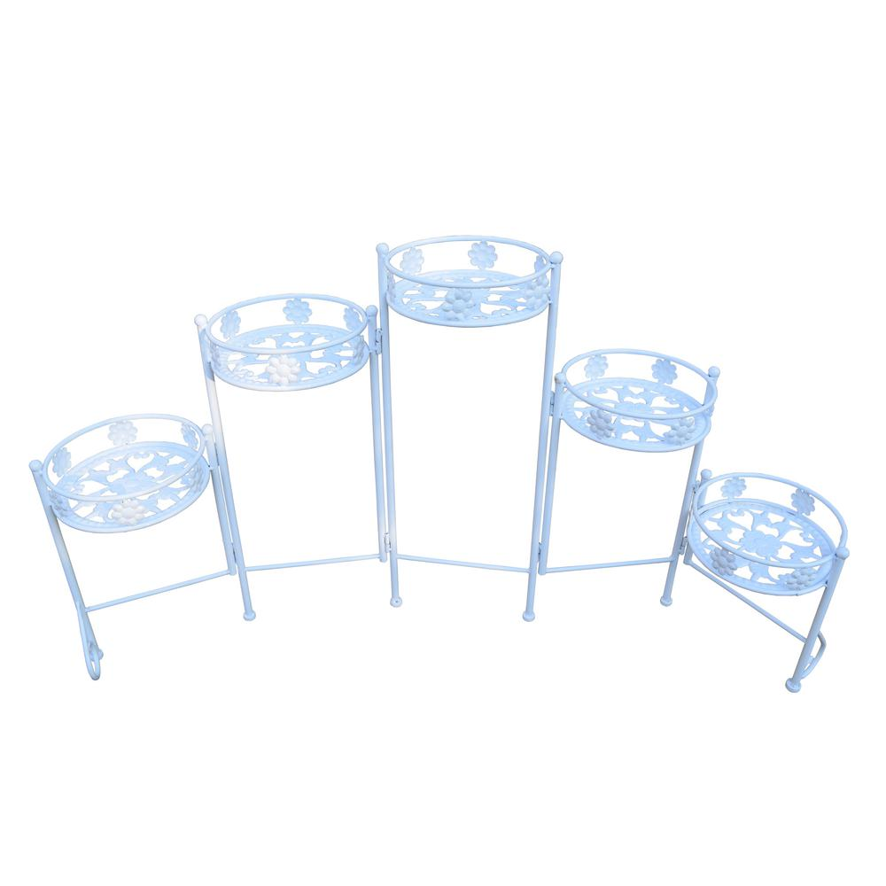 Foldable White Steel Plant Stand