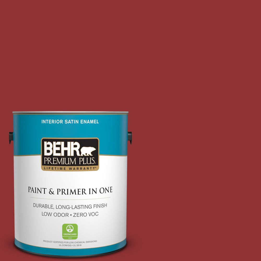 BEHR Premium Plus 1-gal. #S-H-180 Awning Red Zero VOC Satin Enamel Interior Paint