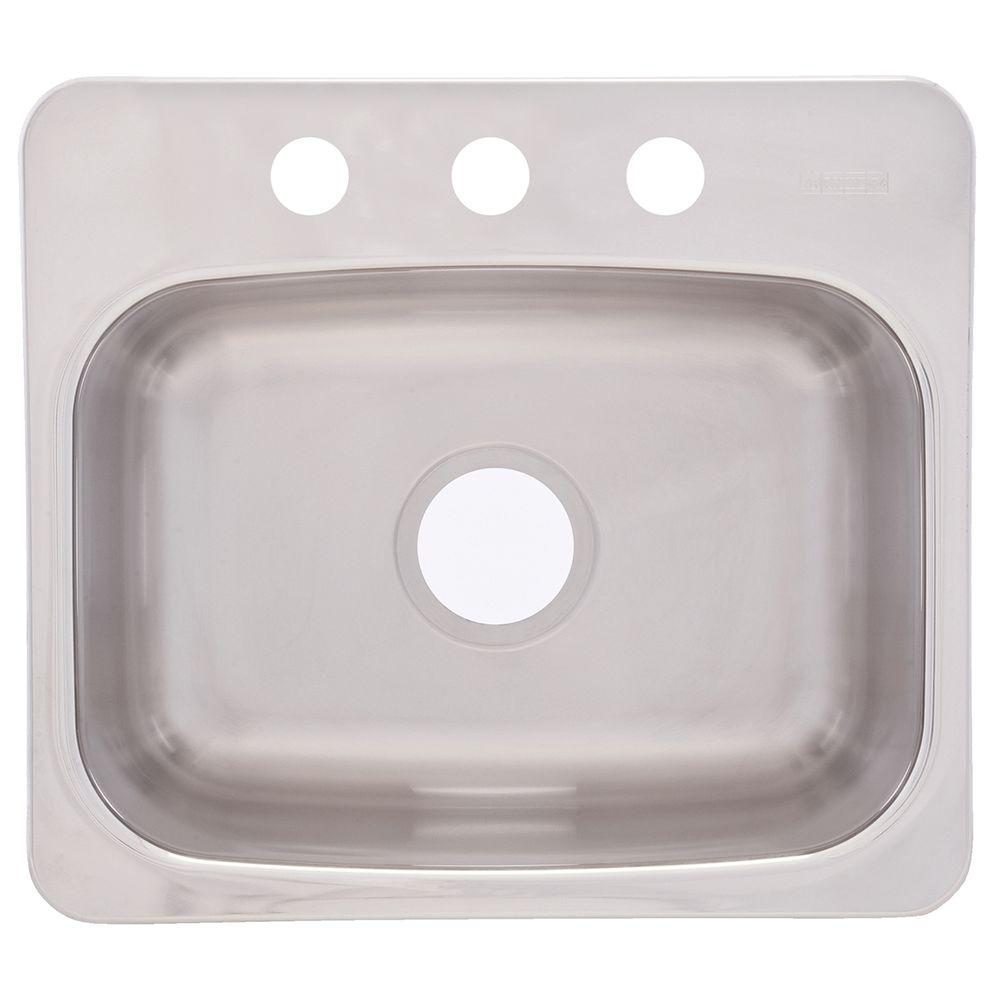 Dual Mount Stainless Steel 19.12.in 3-Hole Single Bowl Kitchen Sink