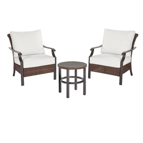 Harper Creek Brown 3-Piece Steel Outdoor Patio Bar Height Dining Set with CushionGuard Chalk White Cushions