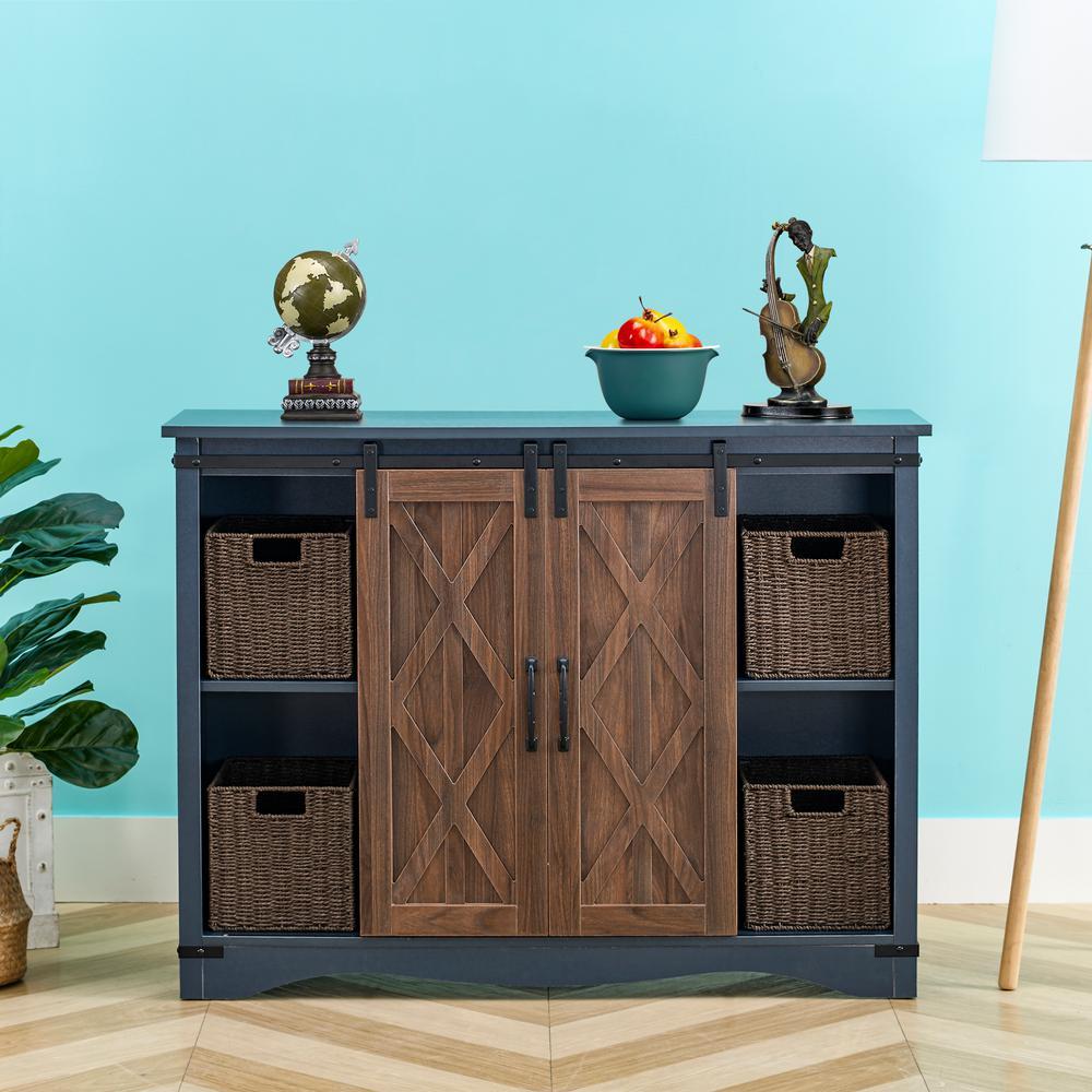 Blue Barn-Door Storage Accent Cabinet